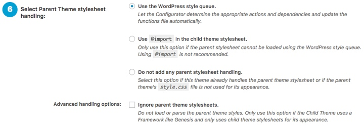 Child Theme Configurator Plugin Step 6
