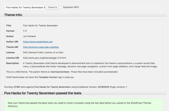 Theme Check Plugin Result