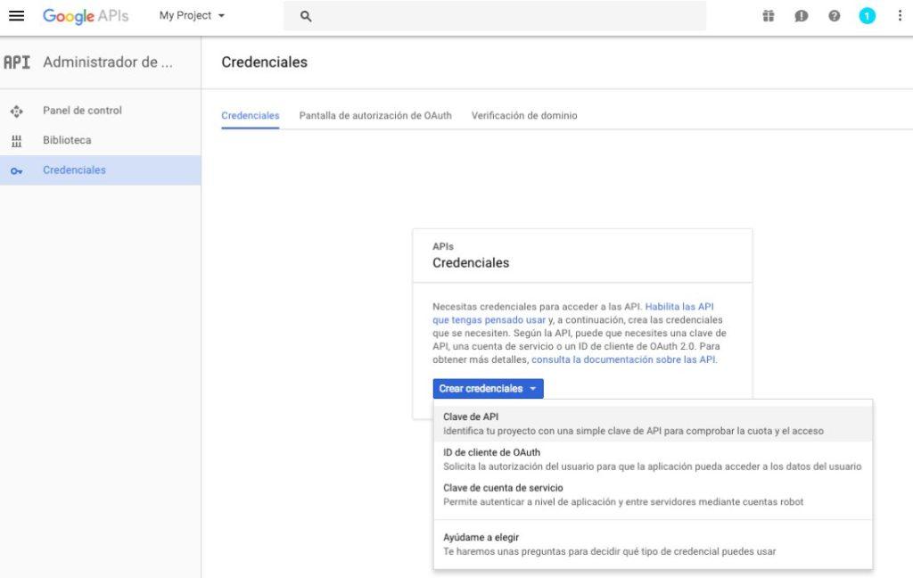 Crear Google Api