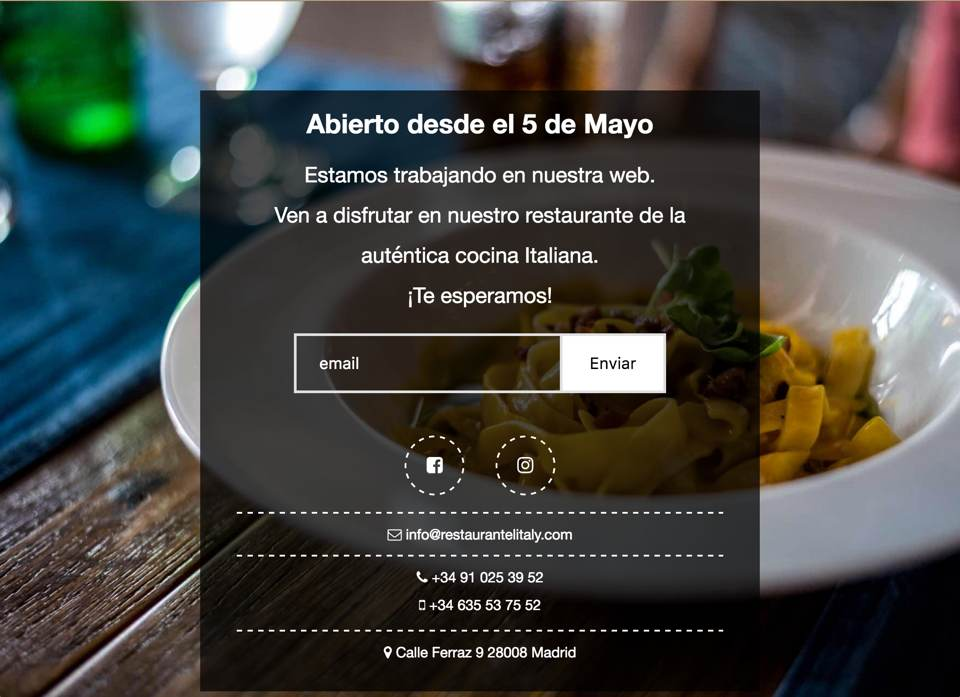 Restaurante Litaly Landing Page